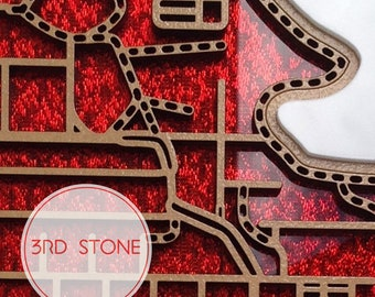 33% OFF East Brunswick, laser cut, street map in green glitter & with inlaid lettering or red fabric infused acrylic.