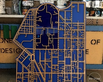 Melbourne University campus - Parkville and surrounding streets. Laser cut, street map, wall decoration.