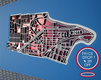 25% OFF this amazing, laser-cut rendering of Footscray 3011 , Victoria !!