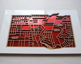 North Coburg 3058, Victoria. Laser cut, street map, wall decoration.
