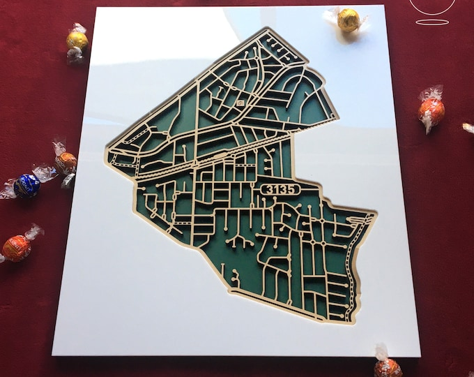 Featured listing image: Ringwood East 3135 Victoria. Laser cut, street map, wall decoration.