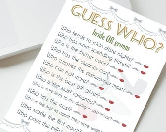 Printable wedding game ''guess who'', reception game about bride and groom, the newlywed game, printable newlywed game in Autumn colors