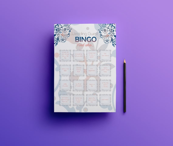 Wedding Reception Games For Guests: Printable Wedding Bingo Wedding Guest Games Reception