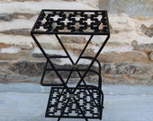 Vintage Metal Stand with Magazine Rack Cast Iron Plant stand - French vintage