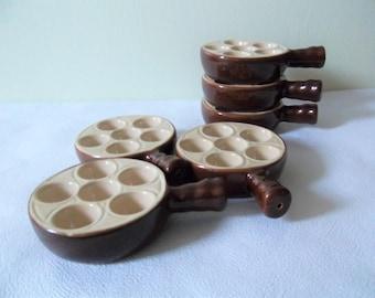 Home, Furniture & Diy Beautiful 3 X Emile Henry 6 Hole Single Handed Baking Dishes Escargot Snail France