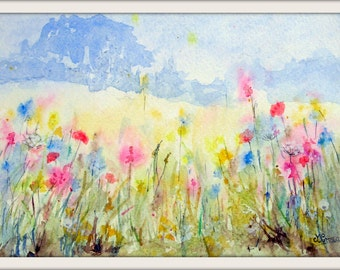 Edge of the meadow, poppies, seedheads, grasses, print from my original watercolour painting.