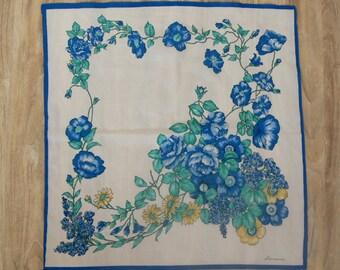 Blue shawl - floral vintage shawl flowers