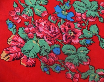 Square scarf, floral print, red flowers