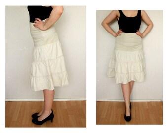 Linen skirt, Knee length skirt, beige High Waisted Skirt, white lace