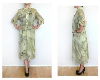 Two piece dress, skirt set, floral blouse + skirt