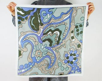 Psychedelic shawl 1960s art square scarf blue vintage lsd purple