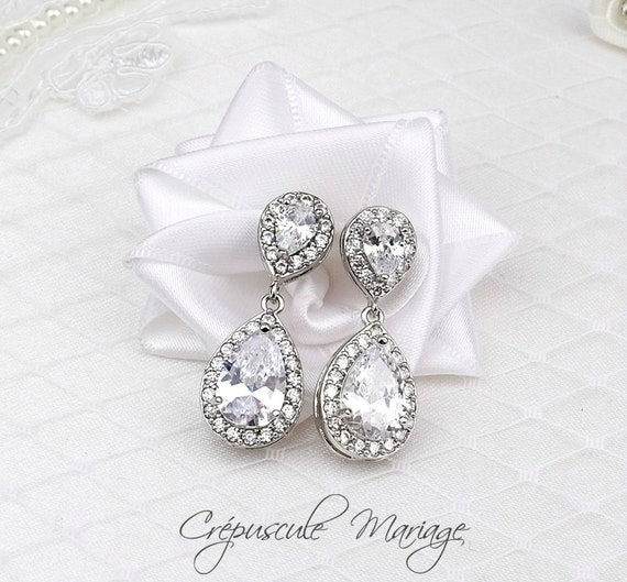 Kelly Silver Bridal Earrings With Clear Cubic Zirconia Etsy