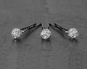 1 x NORA hairpin 8mm, wedding hair jewelry accessories,clear bridal hair jewels,set of 3 or 5,bobby pin, hair jewel,sparkly crystal fireball