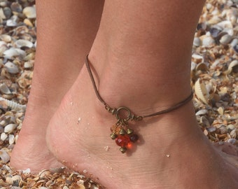 Women ankle bracelet Suede cord anklet Crystal Beach Anklet Summer Jewelry Brown Suede Anklet handmade Bodyjewelry Crystal Women Jewelry