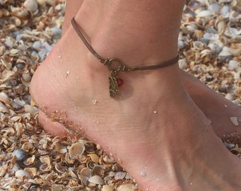 Women ankle bracelet Suede cord anklet Butterfly Beach Anklet Summer Jewelry Brown Suede Anklet handmade Bodyjewelry Crystal Women Jewelry