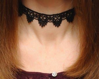 Black choker Lace choker Black lace Choker necklace Lace necklace Lace Boho choker Lace Gothic choker Victorian choker girlfriend gift ideas