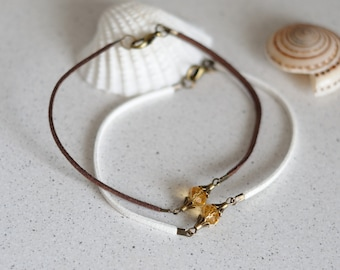 Crystal charm anklet suede cord ankle bracelet womens anklet beach jewelry Foot jewelry girlfriend gift ideas anniversary gift for sister