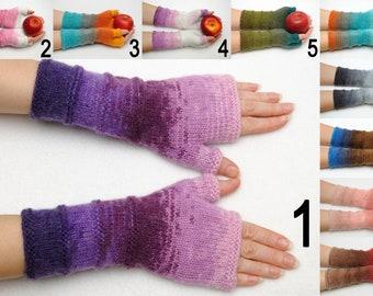 Unique Fingerless gloves Mittens Arm Warmers Colorful Winter gloves for womens gift Half finger gloves Anniversary gift PrettyCrochetForYou