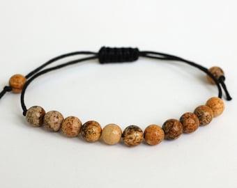 Agate bracelet Gemstone bracelet for Best Friend gift Agate stone Wax Cord bracelet Healing bracelet natural jewelry Healing stones