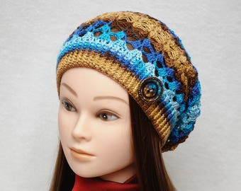Boho Slouchy hat Boho style Slouch beanie Womens hats Summer Crochet sun hat beach hat free spirit accessories for Women PrettyCrochetForYou