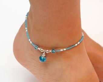 Beach Anklet Women Ankle bracelet something Blue Bohemian Anklet Vacation gift for girlfriend Summer gift sister gift PrettyCrochetForYou