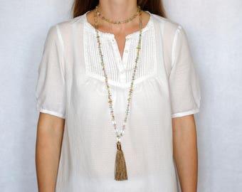 Womens gift for women Quartz necklace Tassel necklace Double Wrap Necklace Colorfull necklace Statement necklace gemstone chips Quartz beads