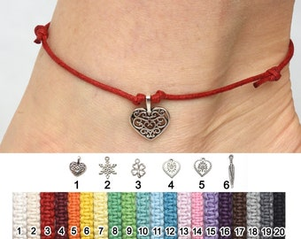 Red cord anklet Red String Thread Wrap Cord Ankle Bracelet Boho Beach anklet Heart charm bracelet gypsy summer anklet for her friends gifts