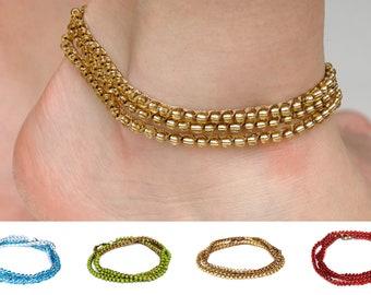 boho crochet ankle bracelet for woman bead anklet women wrap crochet anklet beach simple anklet bohemian beach jewelry PrettyCrochetForYou