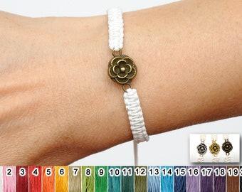 20 colors cord bracelet gift for her women bracelet for girlfriend gift macrame bracelet rose charm bracelet sister gift PrettyCrochetForYou