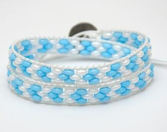 Clothing gift Beaded Wrap bracelet Double Wrap Beads bracelet Twin Bracelet Womens gift for wife White Blue Nautical bracelet for girlfriend