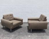 Pair Of Milo Baughman Chrome Cude Chairs With Plaid Fabric Mid Century Modern Furniture