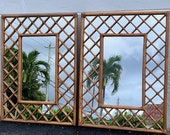 Pair Of Rattan And Reed Mirrors Mid Century Modern Coastal Home Decor