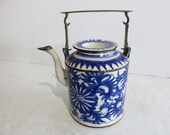 Chinese Blue And White Antique Porcelain Tea Pot Signed With Chop Marks On The Bottom