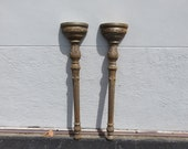 Pair Of Tall Carved Wood Antique Wall Sconces Brackets