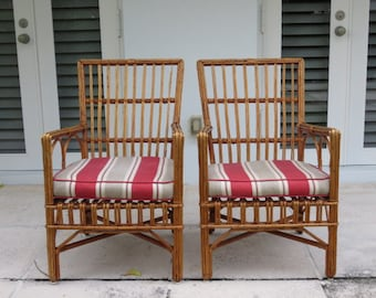 Pair Of Bent Willow Stick Wicker Furniture Bielecky Brothers Style Arm  Chairs Mid Century Modern