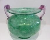 Hand Blown Murano Glass Bowl Mid Century Modern Green And Pink Glass Murano Italy