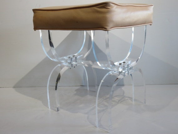 Swell Hill Manufacturing Company Lucite X Bench Mid Century Modern Vanity Stool Dailytribune Chair Design For Home Dailytribuneorg