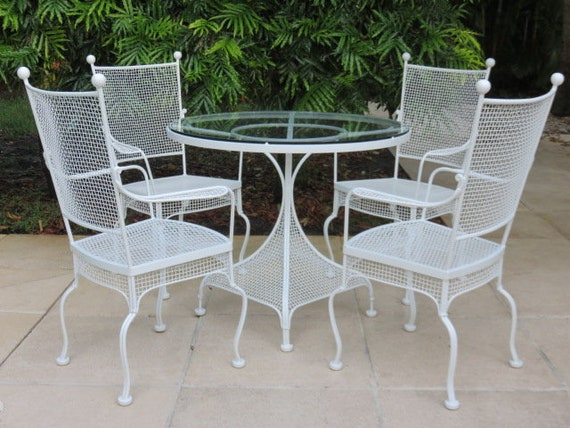 Amazing Restored Russell Woodard Patio Furniture Mid Century Modern Wrought Iron Table And Four Arm Chairs Dailytribune Chair Design For Home Dailytribuneorg