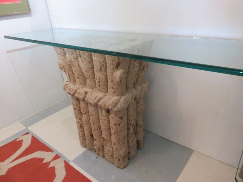 Faux Bois Coquina Stone Console Table With Glass Top