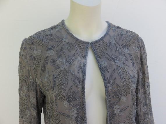 Designer Adrianna Papell Evening Beaded Black Silk