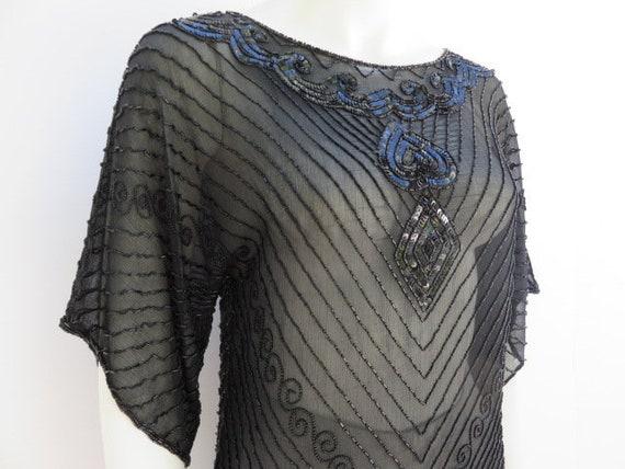 Designer Beaded Black Silk Chiffon Top