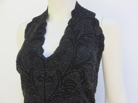 Designer Tadashi Black Sequin Womens Halter Top