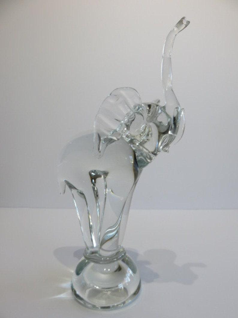 Vintage Hand Blown Glass Elephant Sculpture Mid Century Modern Art