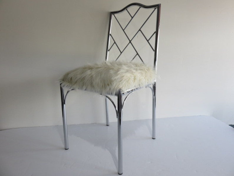 Swell Chrome Chinese Chippendale Mid Century Modern Chair With Faux Grizzle Fur Gmtry Best Dining Table And Chair Ideas Images Gmtryco