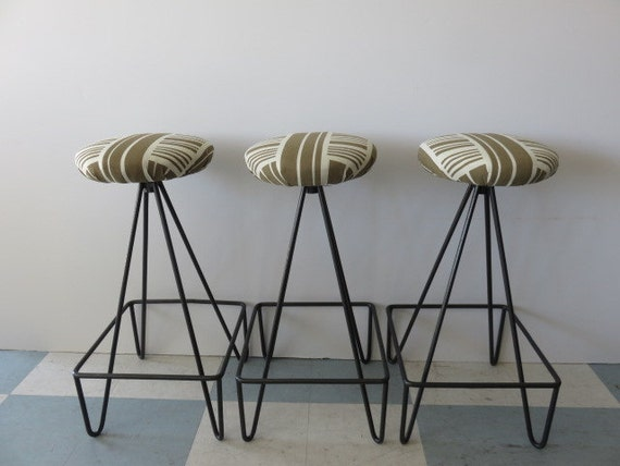 Swell Three Frederick Weinberg Iron Bar Stools With Swivel Seats And Vintage Ben Rose Fabric Andrewgaddart Wooden Chair Designs For Living Room Andrewgaddartcom