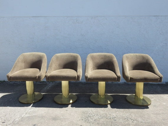 Set Of Four Excalibur Brass Pedestal Swivel Dining Room Chairs