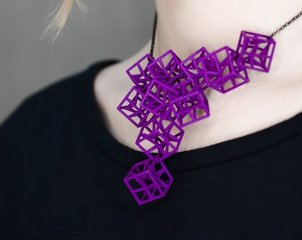 3d printed geometric architecture necklace for architect or engineer, math teacher or science student, contemporary artist or designer