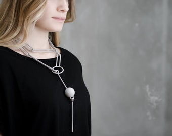 3d printed gray geometric necklace, wearable art, inspired gift for student, teacher history architecture architect designer artist geometry