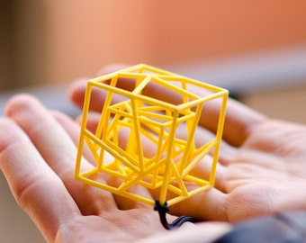3d printed geometric pendant necklace, cubic hyper cube, gift for architect math student or teacher engineer architecture lover