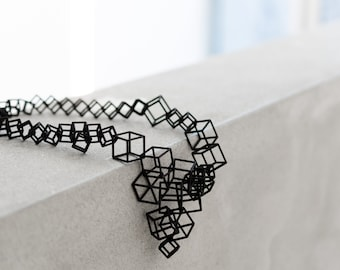 Large 3d printed geometric architecture necklace for architect or engineer, math teacher or science student, contemporary artist or designer